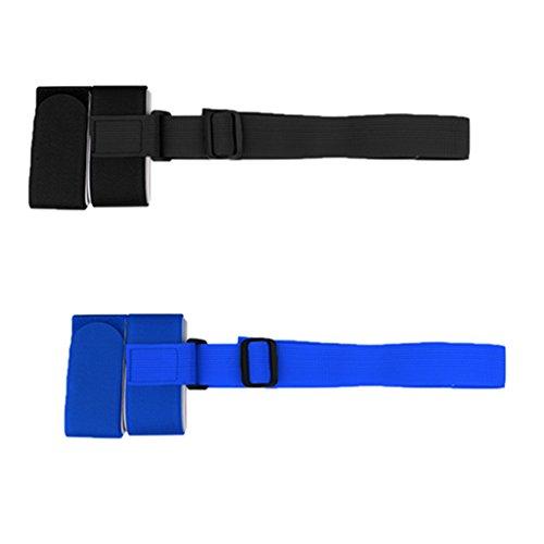 MagiDeal Set 2pcs Bandoulière Ajustable de Ski Snowboard Sangle Bande Porte-Épaules Léger avec Boucle - Bleu, Noir
