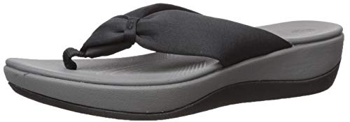 Clarks Women's Arla Glison Flip-Flop, black fabric, 8 Medium US