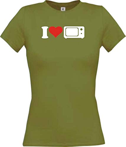 Shirtinstyle Camiseta de Mujer i Love Microondas Essen Cocinar Backen - Moss, S