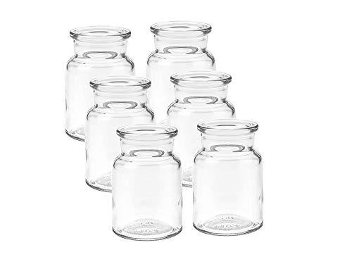 6 unidades de mini jarrones redondos de cristal pequeños decorativos para botellas, vejos, jarrones de cristal (6 unidades)