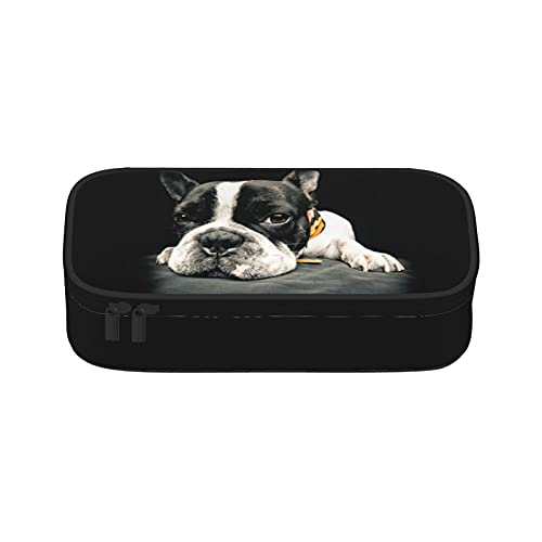 Niukom French Bulldog Pencil Case Pen Pouch Bag Marker Desk Organizer Pencil Holder with Zipper Big Capacity College Middle School & Office Supplies Stationery