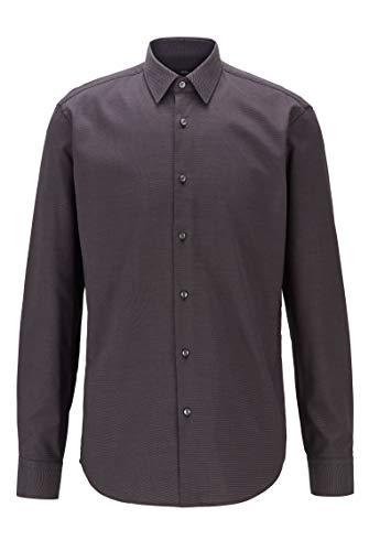 Photo of BOSS Mens Eliott Regular-fit Shirt in Easy-Iron Cotton Dobby Black