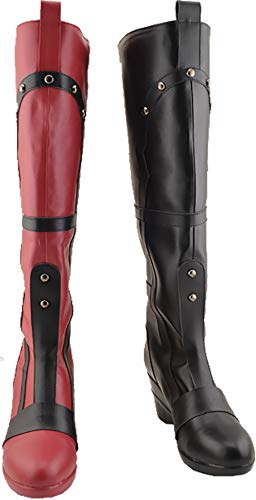 GSFDHDJS Cosplay Stiefel Schuhe for Batman Harley Quinn red Black