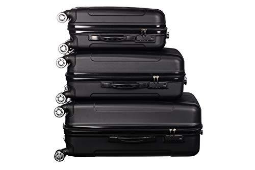 Birendy - 3-TLG. Hartschalen Koffer-Set 35004 Trolley mit 4 Rollen, Zahlenschloss und Ausziehgriff - 3 Größen L, XL, XXL und Set - schwarz Black