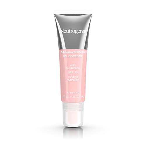 Neutrogena MoistureShine Lip Soother Gloss with SPF 20 Sun Protection, High Gloss Tinted Lip Moisturizer with Hydrating Glycerin and Soothing Cucumber for Dry Lips, Gleam 40,.35 oz