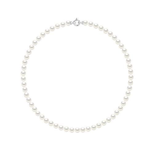 Pearls & Colors - Collana Vere Perle di Coltura d'Acqua Dolce Rotonde - Colore Bianco Naturale - qualità AAA+ - Diverse Misure Disponibili - Chiusura di Prestigio - Oro Bianco