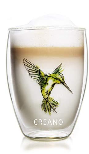 Creano doppelwandiges Tee-Glas, Latte Macchiato, Thermobecher Kolibri | 250ml in exklusiver Geschenkbox, grün