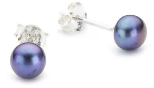 Dew Women's Sterling Silver and Black Freshwater Pearl Stud Earrings