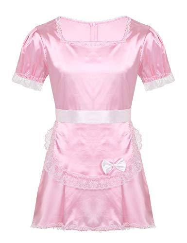 iEFiEL Herren Dienstmädchen Kostüm Maid Cosplay Satin Nachthemd Kurzarm Sissy Dessous Kleid mit Schürze Schlafanzug Nachtwäsche Rosa XXL
