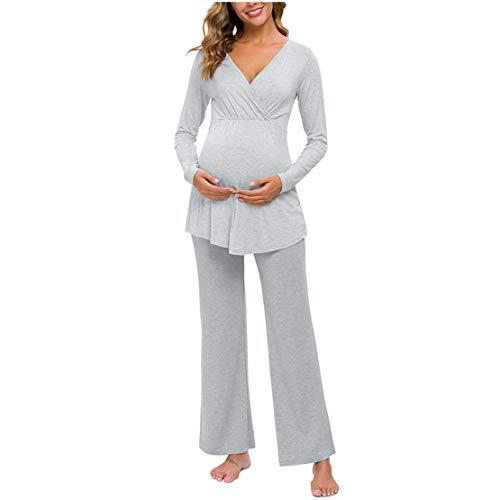 Pijama Lactancia Manga Larga Pijama Premama Invierno Ropa de Dormir Mujer Embarazada Algodon Camiseta y Pantalones Conjunto Maternidad para Hospital/M