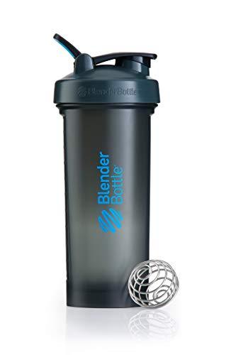 BlenderBottle Pro45 Shaker mit BlenderBall, optimal geeignet als Eiweiß Shaker, Protein Shaker, Wasserflasche, Trinkflasche, BPA frei, skaliert bis 1000 ml, Kapazität 1300ml, grau blau