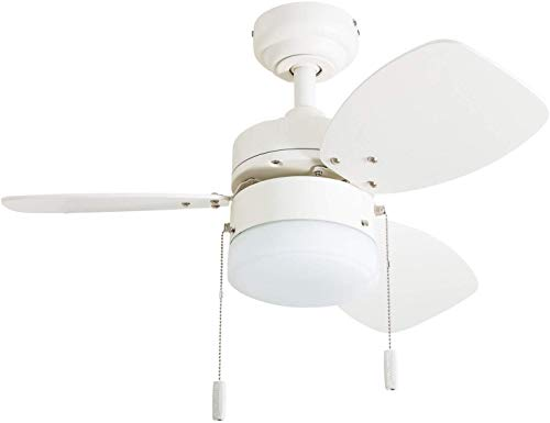 """Honeywell Ceiling Fans 50600-01 Ocean Breeze Contemporary, 30"""" LED Frosted Light, Light Oak/Satin Nickel Finish Blades, White"""