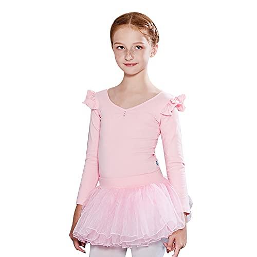 ZRFNFMA Ropa de prctica de danza para nios Otoo e Invierno Modelos Nias Ballet de Danza Latina de Manga Larga Falda de Danza Disfraz cereza rosa-120cm