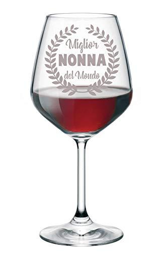 Copa de vino grabada con papá abuelo, Zio Mamma Nonna Zia Mejor del Mundo – Copa de cristal 500 ml Nonna S