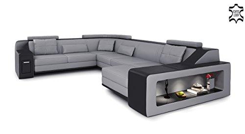 Bullhoff by Giovanni Capellini XXL Wohnlandschaft Leder grau/schwarz Couch Sofa U-Form Ledersofa Ledercouch Designsofa mit LED-Licht Beleuchtung Berlin