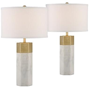 Possini Euro Leala Faux Marble Accent Table Lamp Set of 2