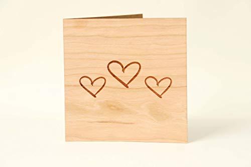 Holzgrußkarten Liebeskarte & Valentinskarte - 100% Made in Austria - Karte besteht aus Kirschholz - einzigartige Grußkarte zum Valentistag, Hochzeitstag, Jahrestag, Verlobung, Liebeserklärung uvm