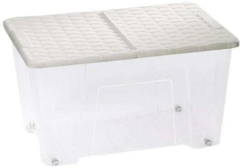 DEA HOME SET 5 opbergdozen RATTAN BOX 50 LT TRASP/WIT, 57x39x32, 57 x 39 x 32 cm