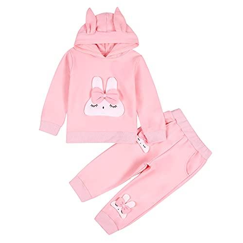 BOBOBORA - Conjunto de bebé niña de Invierno, Abrigo con Capucha de Manga Larga con pantalón austumono, para 0-3 años Lapin - Rose 6-9 Meses