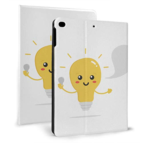 Estuche para iPad para niñas Divertido Amarillo Nueva Idea Bombilla Mini Fundas para iPad para iPad Mini 4 / Mini 5/2018 6th / 2017 5th / Air/Air 2 con Auto Wake/Sleep Estuche Protector