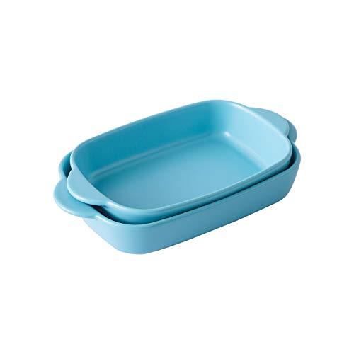 Singgreat Juego de 2 platos pequeños de cerámica para hornear con asa, cacerola de lasaña para asar (23,6 cm, 26,2 cm), color azul