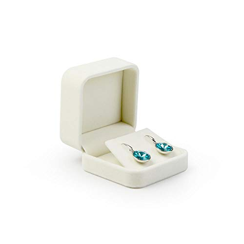 Oirlv Terciopelo real Caja de regalo pendiente Caja de almacenamiento de exhibición de joyas (blanco cremoso)