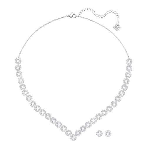 Swarovski Angelic Square Set für Frauen, Halskette, groß, weißes Kristall, rhodiniert