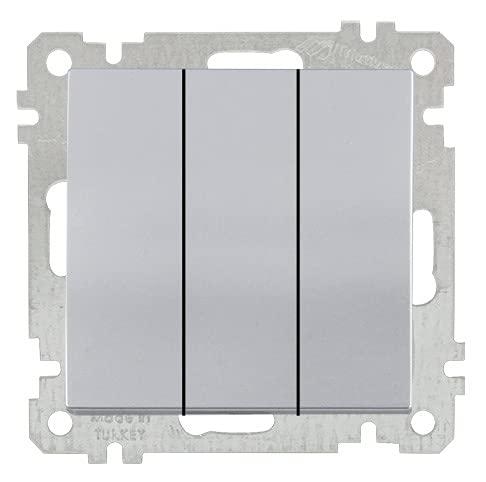 CANDELA - Interruptor triple (3 entradas, color plateado y plateado)