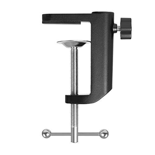 YNGRUE Microphone Arm Stand C Shape Desk Table Mounting Clamp for Microphone Mic Suspension Boom Scissor Arm Stand Holder with Adjustable Screw, Fits up to 2.3in/5.9cm Desktop Thickness