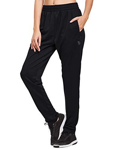 BALEAF Women's Athletic Sweatpants Joggers Active Sweat Pants Comfy Running Lounge Zipper Pockets Black Size XS