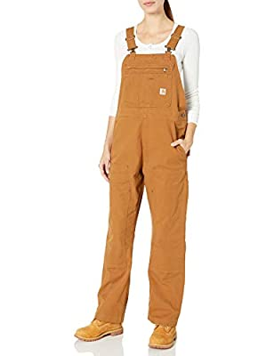 Carhartt Women's Crawford Double Front Bib Overalls, Brown, Medium Short from Carhartt Women's Collection
