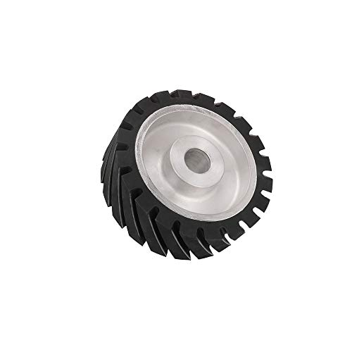 6 Inch Serrated Rubber Belt Grinder Contact Wheel Rubber Wheel Contact Wheel Aluminum for Polishing with 1' Hole