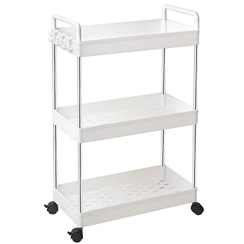 SOLEJAZZ 3-Tier Storage Trolley Cart Slide-out Rolling Utility Cart Mobile Storage Shelving Organizer for Kitchen, Bathroom, Laundry Room, Bedroom, Narrow Places, Plastic,White