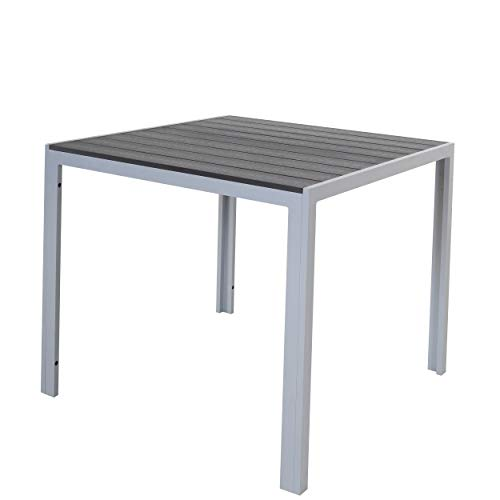 Chicreat - Mesa de aluminio con superficie de Polywood, 90 x 90 x 75 cm, plateado y negro