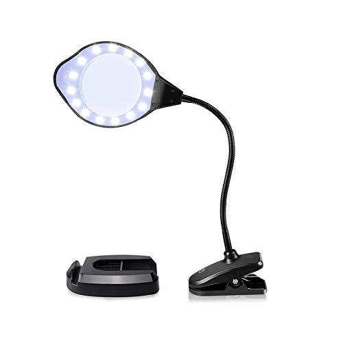 BRAVE 拡大鏡 スタンドルーペ 虫眼鏡 LEDライト付き 2倍 4倍レンズ 調光3段階 置き型 クリップ対応 MV-24KADARE