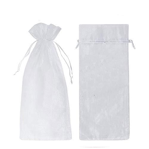 Funda protectora transparente para botella de champán, color blanco con cordón, para condimentos, velas, caramelos, regalos (30 unidades)