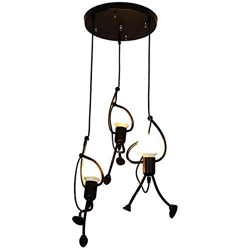 K.LSX industriële plafond hanglampen Montage 3-Kroonluchter lampenkap voor Home Office Slaapkamer Woonkamer Eetkamer Koffie Shop