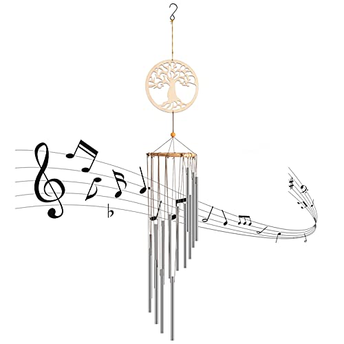 Fuguan Wind Chimes, Wind Catcher for Outside Inside, Large Deep Tone Music Windchimes Outdoor Clearance Personalized with Solid Tubes Decoration Gift for Patio, Garden, Home, Tree, Eave and Balcony