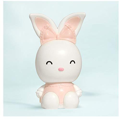 LRZLZY USB de la Historieta pequeño Ventilador portátil Conejo de Carga con la Cuerda portátil Grande del Viento Mini Ventilador Lindo el Descanso (Color : Pink)