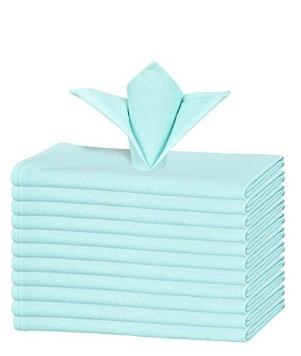 GLAMBURG Juego de 12 servilletas de algodón, servilletas de Tela 46x46 Cm, servilletas de cóctel Suaves y cómodas, servilletas de Boda, Lavables a máquina - Azul Agua