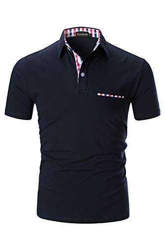 YCUEUST Homme Coton Lattice Manches Courtes Polo Casual...