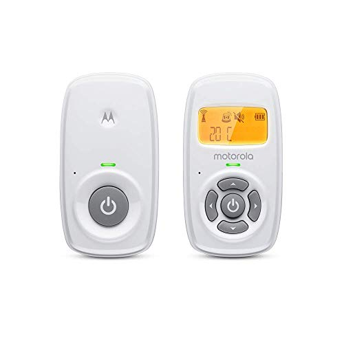 Motorola MBP24 Audio Baby Monitor with Room Temperature Display, High Sensitivity Microphone and Two-Way Talk, White