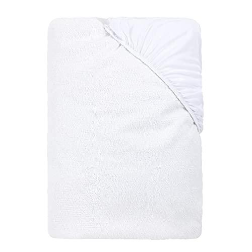 Nido by Pikolin Home - Protector de colchón de Rizo extrasuave e Impermeable Que Ayuda a Proteger a tu Cama contra líquidos inesperados, Cama de 105 - 105 x 196 cm