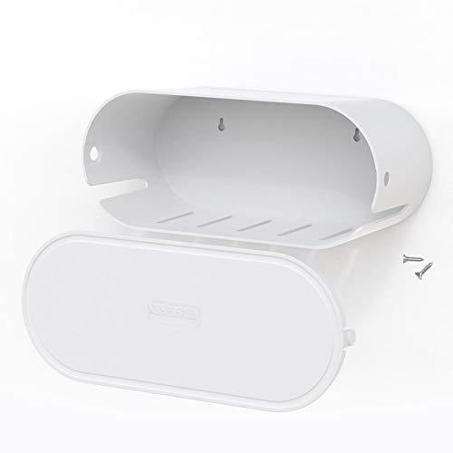 Kabelbox Wandhalterung mit Schloss Groß Kabelmanagement-Box 35.9 x 15 x 13.8 cm für Kabelsalat Organisieren und TV, Kabelorganisation, Kabel Verstecken und Kabelaufbewahrung ABS Kunststoff-Weiß
