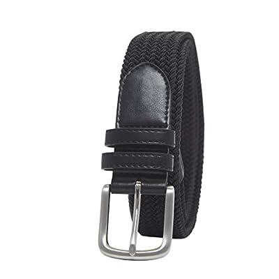 Amazon Essentials Men's Stretch Woven Braid Belt, Black, 34