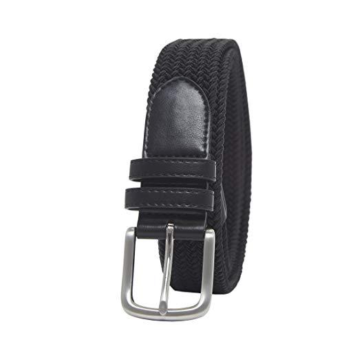 Amazon Essentials Men's Stretch Woven Braid Belt, Black, 42 Black Leather Woven Belt