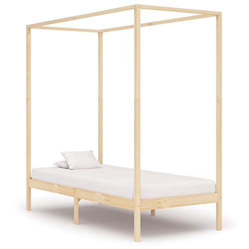 Irfora Bed Frames for Adults, Canopy Bed Frame 90x200 Cm Solid Pine Wood