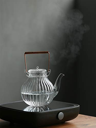 IwaiLoft 手作り 耐熱ガラス ティーポット 茶こし付き ガラス製ポット 銅製 持ち手 ジャンピング 紅茶ポット フルーツティー リーフティー 花茶 工芸茶 ハーフティー に 直火可 大容量 IL-G1968 (鶴首, 800ml)