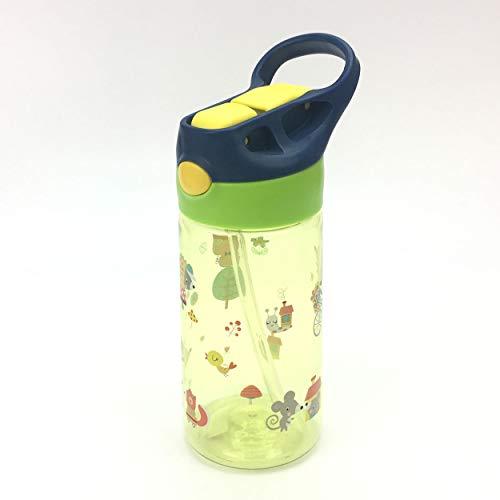 ZT Botella de Agua para Niño decoradas, 450ml, Botella a prueba de Fugas, Botella Agua con Pajitas, sin BPA. (ZORRO)