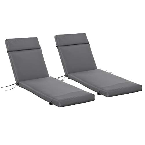 Outsunny Set of 2 Sun Lounger Cushion Non-Slip Seat Pads Garden Patio Reclining Chair for Indoor Outdoor, 196 x 55cm, Dark Grey